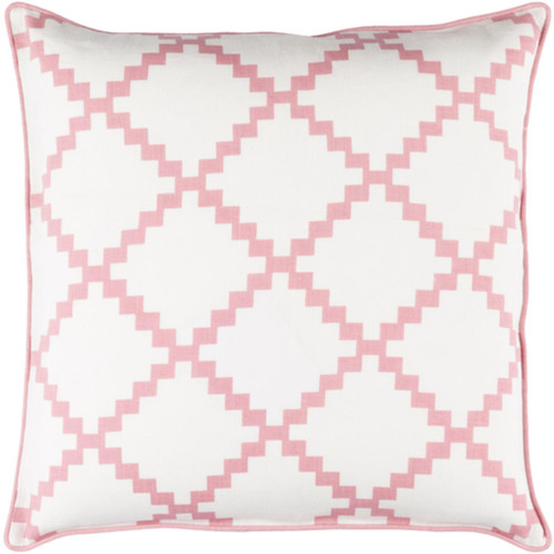 """18"""" White and Bubble Gum Pink Woven Square Throw Pillow - Down Filler - IMAGE 1"""