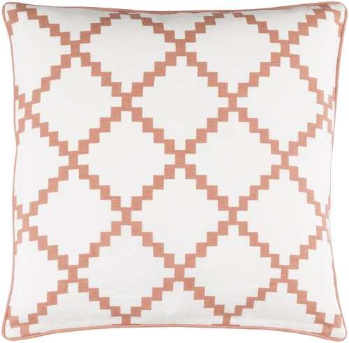 """22"""" White and Burnt Orange Woven Square Throw Pillow - Down Filler - IMAGE 1"""