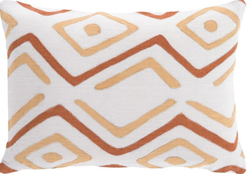 """19"""" Burnt Orange and Beige Contemporary Throw Pillow - Down Filler - IMAGE 1"""