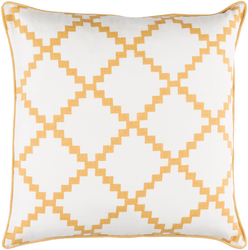 """18"""" White and Mustard Yellow Woven Square Throw Pillow - Down Filler - IMAGE 1"""