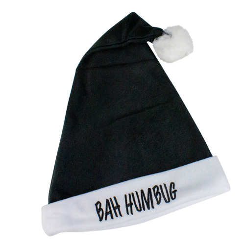 Black and White 'Bah Humbug' Unisex Adult Christmas Santa Hat Costume Accessory - One Size - IMAGE 1