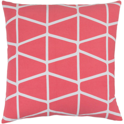 """20"""" Trapezium Delight Coral Pink and Albino White Geometric Woven Decorative Throw Pillow - Down Filler - IMAGE 1"""