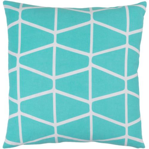 """20"""" Trapezium Delight Aqua Blue and Albino White Geometric Woven Decorative Throw Pillow - Down Filler - IMAGE 1"""