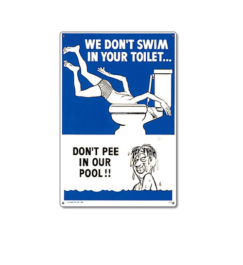 """18"""" Blue and White Funny Residential Swimming Pool Sign - IMAGE 1"""