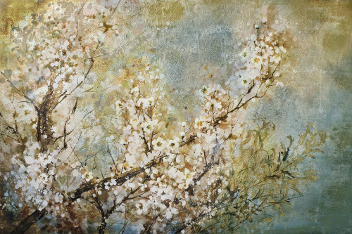 """60"""" Cloud White and Sky Blue Abstract Blossoming Tree Decorative Wall Art - IMAGE 1"""