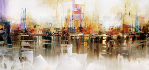 """60"""" Cloud White and Rust Orange Abstract Cityscape Decorative Wall Art - IMAGE 1"""