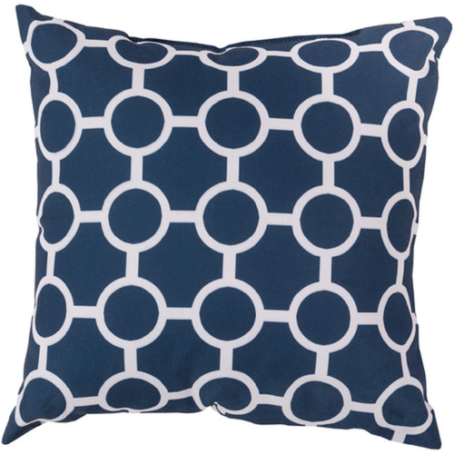 "20"" Midnight Blue and White Square Contemporary Throw Pillow Cover - IMAGE 1"