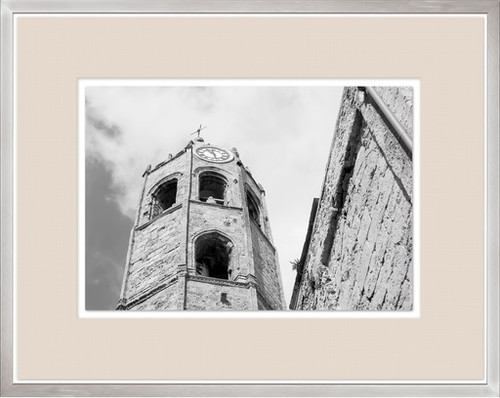 """34"""" Black and White Contemporary Brick Tower Print Decorative Wall Art - IMAGE 1"""