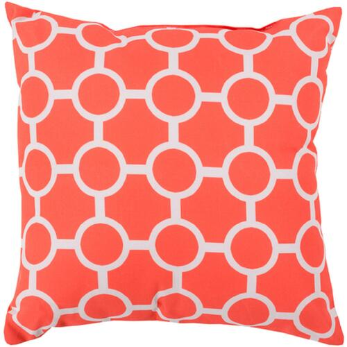 """20"""" Orange and White Square Contemporary Throw Pillow Cover - IMAGE 1"""