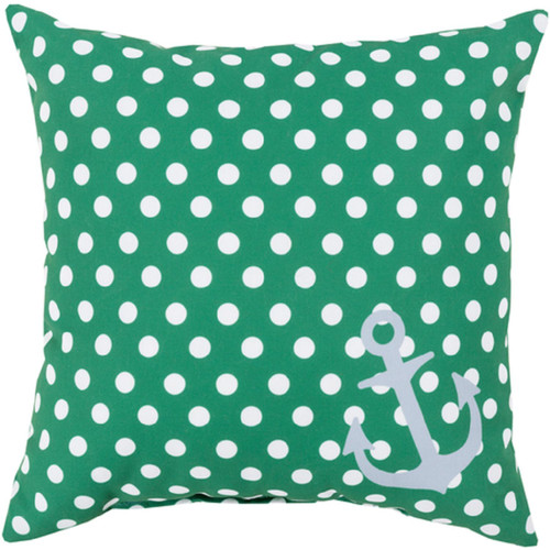 """20"""" Emerald Green and White Contemporary Square Throw Pillow Cover with Polka Dots - IMAGE 1"""