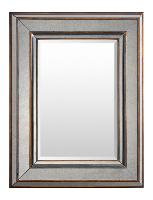 """36"""" Distressed Silver Bronze Frame with a Beveled Rectangular Wall Mirror - IMAGE 1"""