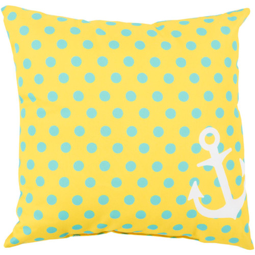 "20"" Butter Yellow and Blue Contemporary Square Throw Pillow Cover with Polka Dots - IMAGE 1"
