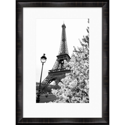 "40"" Black and White Eiffel Tower and Tree Print Decorative Wall Art - IMAGE 1"