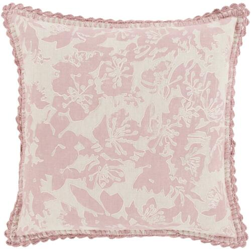 """22"""" Powder Pink and Dove Gray Floral Woven Decorative Throw Pillow-Down Filler - IMAGE 1"""