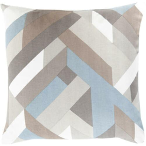 """18"""" Blue and Gray Hand Woven Decorative Square Throw Pillow - Poly Filled - IMAGE 1"""