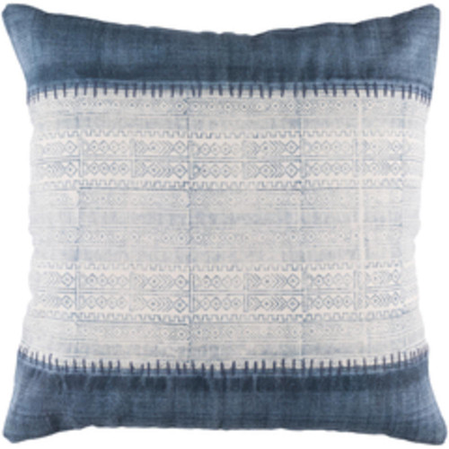 """30"""" Blue and White Patterned Woven Square Throw Pillow - IMAGE 1"""
