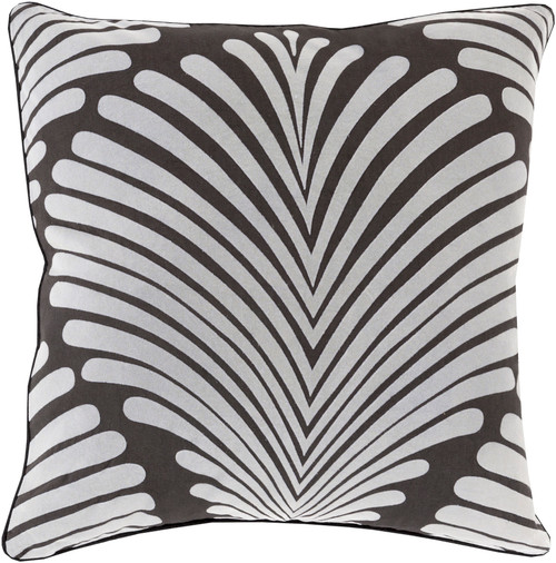 "18"" Black and White Contemporary Tropical Square Throw Pillow - Down Filler - IMAGE 1"