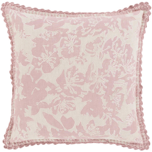 "20"" Powder Pink and Dove Gray Floral Woven Decorative Throw Pillow - Poly Filled - IMAGE 1"