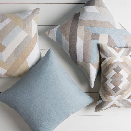 """20"""" Blue and Gray Geometric Throw Pillow - Down Filler - IMAGE 1"""