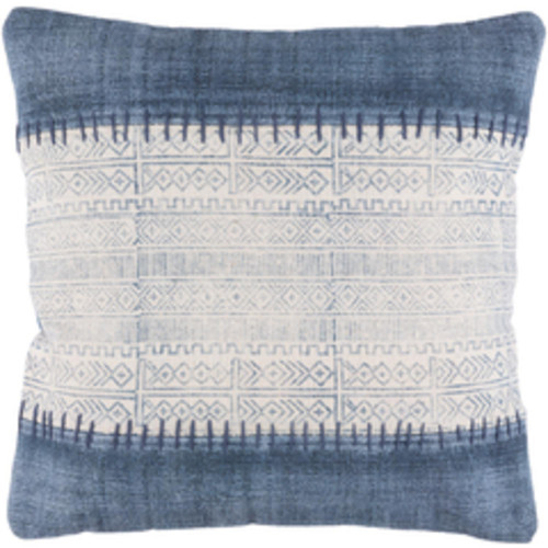 """20"""" White and Blue Geometric Square Throw Pillow - Down Filler - IMAGE 1"""