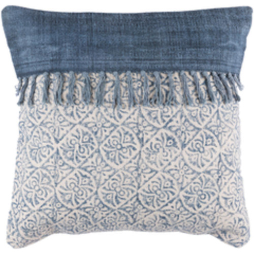 """20"""" Denim Blue and Latte Brown Contemporary Decorative Throw Pillow- Down Filler - IMAGE 1"""
