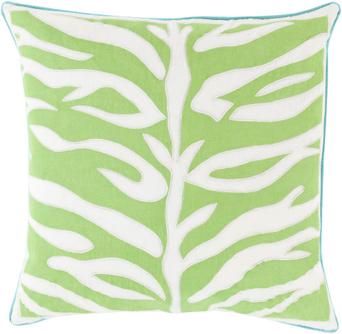 """22"""" Lime Green and Lace White Square Throw Pillow with Blue Trim - Down Filler - IMAGE 1"""