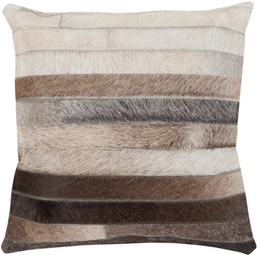 """22"""" Black and Brown Striped Design Indoor Decorative Square Throw Pillow - Poly Filled - IMAGE 1"""