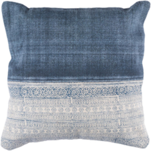 """20"""" Latte Brown and Denim Blue Contemporary Decorative Throw Pillow - Poly Filled - IMAGE 1"""