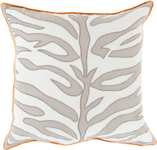 """22"""" Ash Gray and Lace White Zebra Print Square Throw Pillow with Orange Trim - Poly Filled - IMAGE 1"""