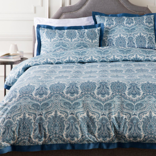 Blue and White Damask Cotton Twin Duvet Cover - IMAGE 1