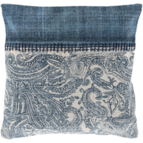 """20"""" Denim Blue and Latte Brown Global Woven Decorative Throw Pillow -Down Filler - IMAGE 1"""