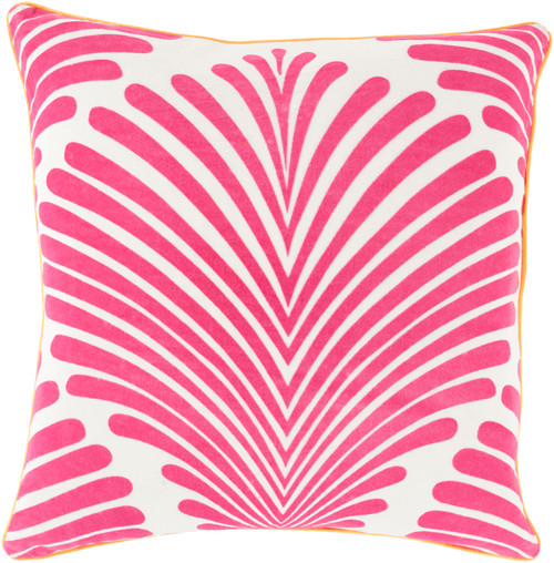 """22"""" Pink and White Contemporary Tropical Square Throw Pillow - Down Filler - IMAGE 1"""