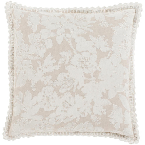 """20"""" White and Ivory Floral Square Throw Pillow - Down Filler - IMAGE 1"""