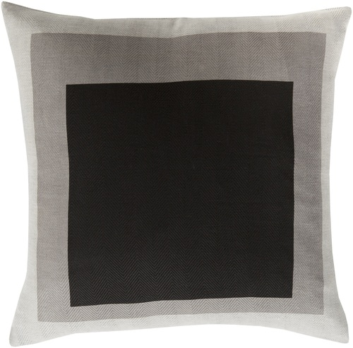 """18"""" Black and Brown Block Patterned Woven Indoor Square Throw Pillow - Poly Filled - IMAGE 1"""