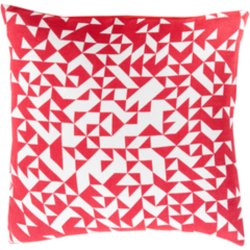 """22"""" Red and White Contemporary Square Throw Pillow - Down Filler - IMAGE 1"""