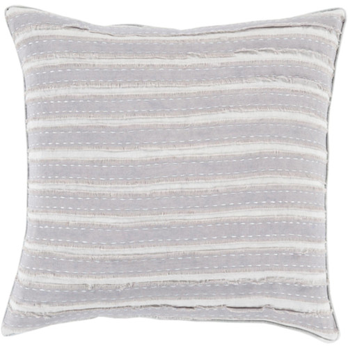 """18"""" White and Pale Blue Striped Woven Throw Pillow - Down Filler - IMAGE 1"""
