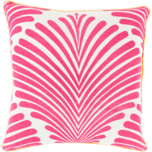 "22"" Pink and White Contemporary Tropical Square Throw Pillow - IMAGE 1"