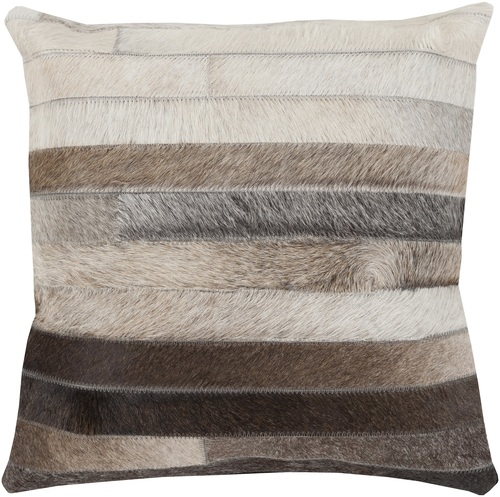 """22"""" Black and Brown Striped Design Indoor Decorative Square Throw Pillow - Down Filler - IMAGE 1"""