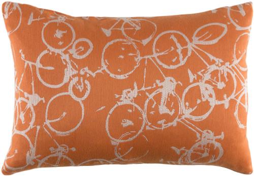 "19"" Orange and White Crazed Cycles Printed Rectangular Throw Pillow - IMAGE 1"