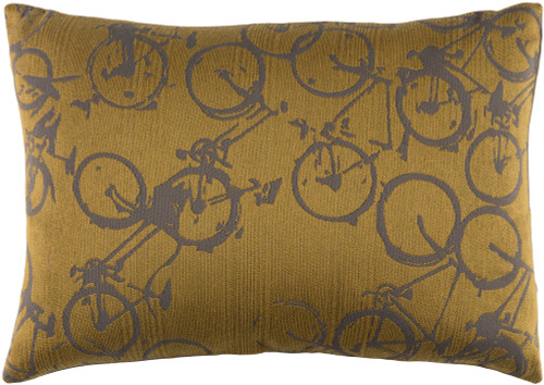 """19"""" Yellow and Gray Crazed Cycles Printed Rectangular Throw Pillow - Down Filler - IMAGE 1"""