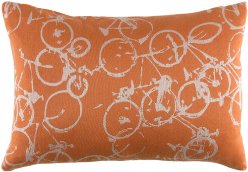 "19"" Orange and White Crazed Cycles Printed Rectangular Throw Pillow - Down Filler - IMAGE 1"