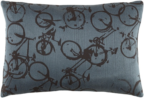 "19"" Black and Blue Cycles Printed Decorative Rectangular Throw Pillow - Down Filler - IMAGE 1"