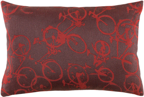 "19"" Gray and Red Crazed Cycles Printed Rectangular Throw Pillow - IMAGE 1"