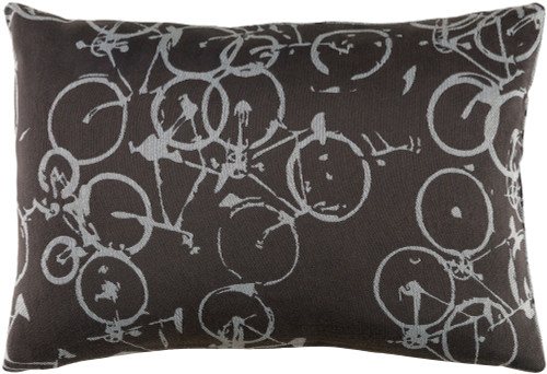 "19"" Gray and White Crazed Cycles Printed Rectangular Throw Pillow - Down Filler - IMAGE 1"