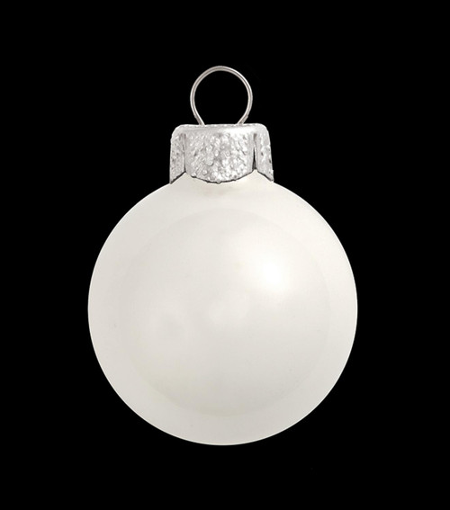 "2ct White Shiny Glass Christmas Ball Ornaments 6"" (150mm) - IMAGE 1"