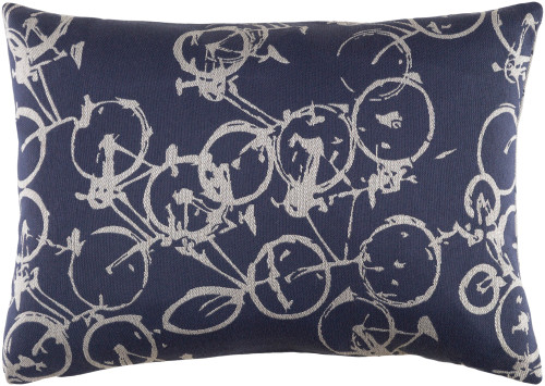 "19"" Gray and Blue Crazed Cycles Printed Rectangular Throw Pillow - Down Filler - IMAGE 1"