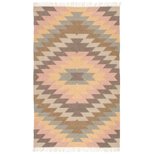 3.5' x 5.5' Multi-Color Mojave Outdoor Flat Weave Area Throw Rug - IMAGE 1