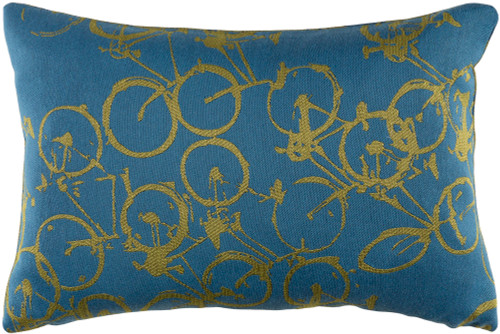 "19"" Green and Blue Crazed Cycles Printed Rectangular Throw Pillow - Down Filler - IMAGE 1"