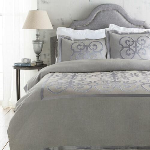 Metallic Silver and Stone Gray Royalty Decorative Linen Twin Bedding Set - IMAGE 1
