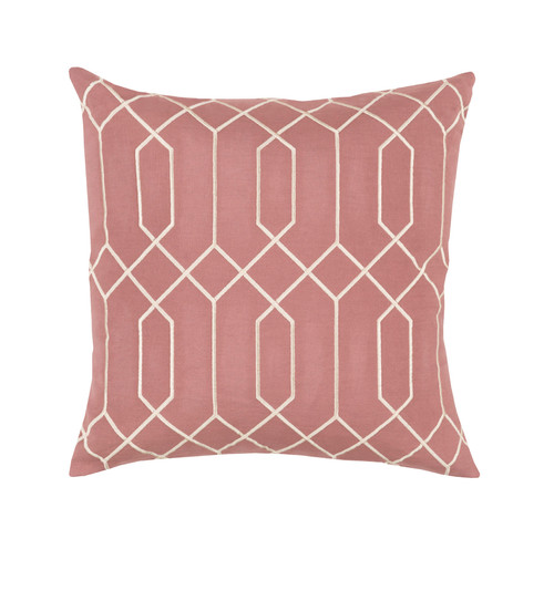 """20"""" Pink and White Geometric Square Throw Pillow - IMAGE 1"""